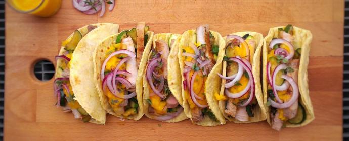Vepřové tacos s dipem z grilovaných paprik